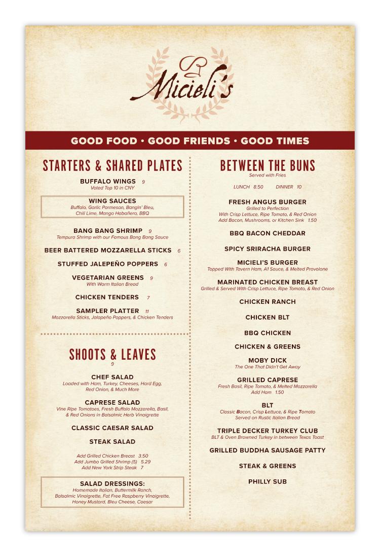 Micielis Lakeside Dining Restaurant Canastota Menu Design Page 01