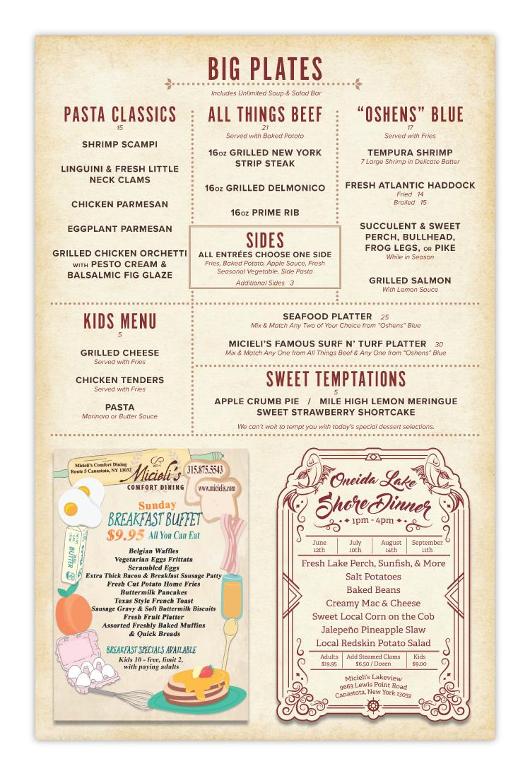 Micielis Lakeside Dining Restaurant Canastota Menu Design Page 02