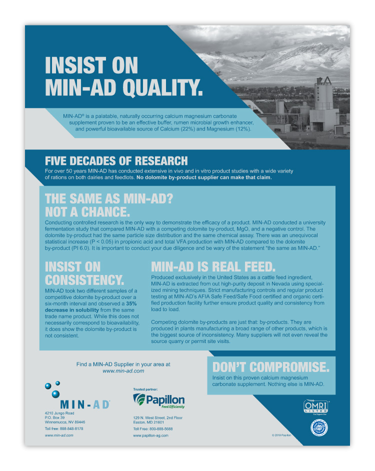 Papillon Feed Efficiently Dairy Industry Min-Ad Sell Sheet Print Design