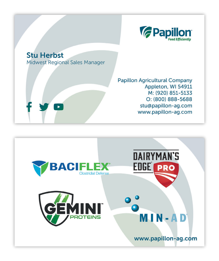 Papillon Feed Efficiently Dairy Industry Corporate Business Card Print Design Concept 02