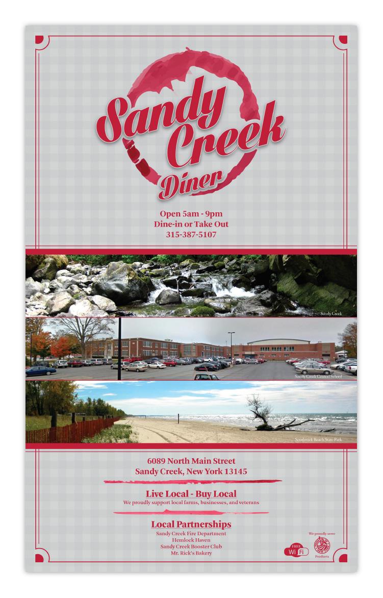 Sandy Creek Diner Restaurant Sandy Creek NY New York Menu Design Front Cover