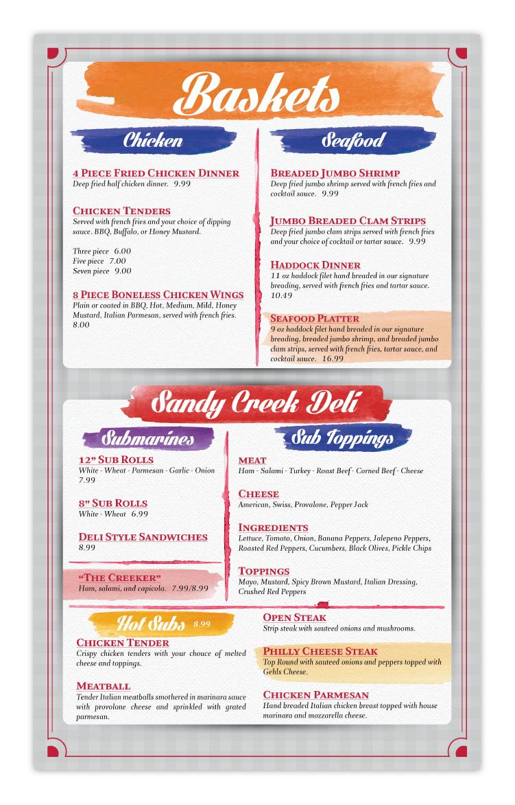 Sandy Creek Diner Restaurant Sandy Creek NY New York Menu Design Page 4