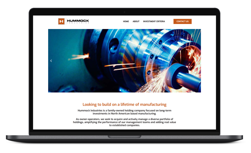 hummock Industries Website Laptop Web Mockup Site Industrial Holdings Design Development