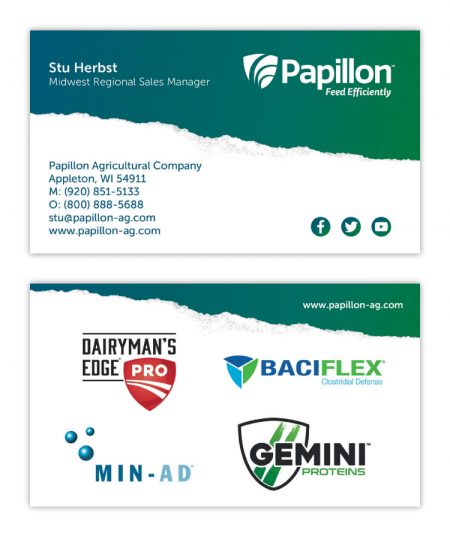 Papillon Feed Efficiently Dairy Industry Corporate Business Card Print Design