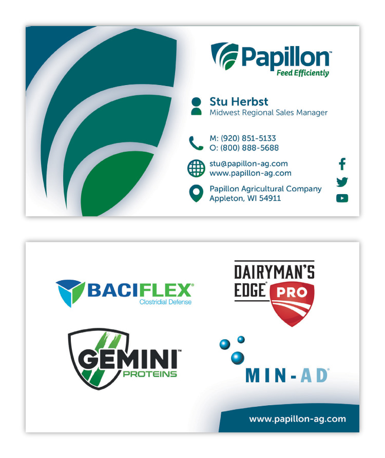 Papillon Feed Efficiently Dairy Industry Corporate Business Card Print Design Concept 03
