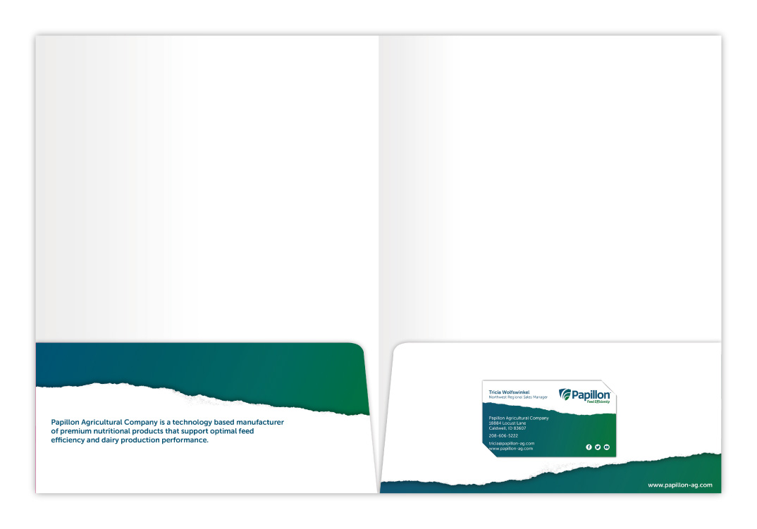 Papillon Feed Efficiently Dairy Industry Corporate Pocket Folder Print Design Inside