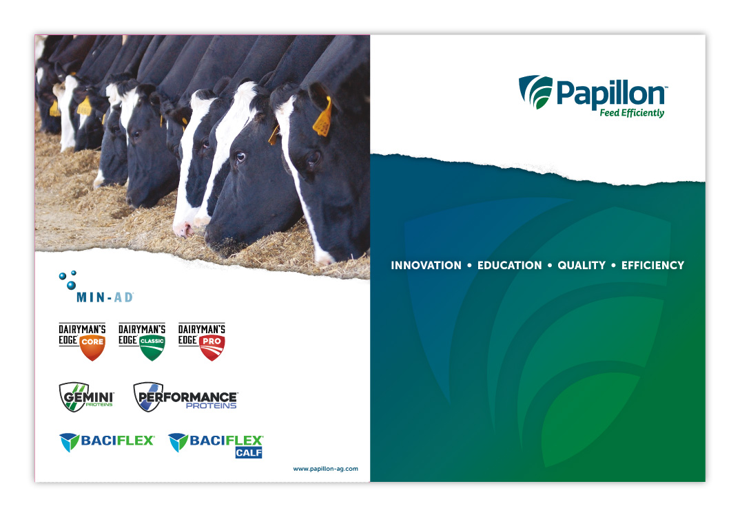 Papillon Feed Efficiently Dairy Industry Corporate Pocket Folder Print Design Outside
