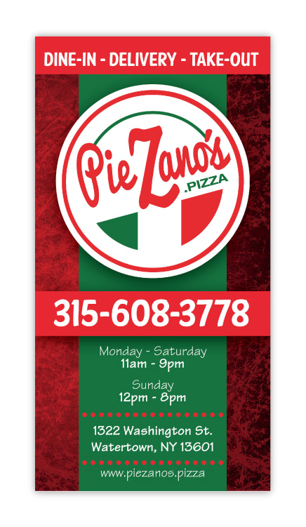 PieZanos Pizza Chicken Wings Calzones Restarant Tri-fold Menu Design Cover