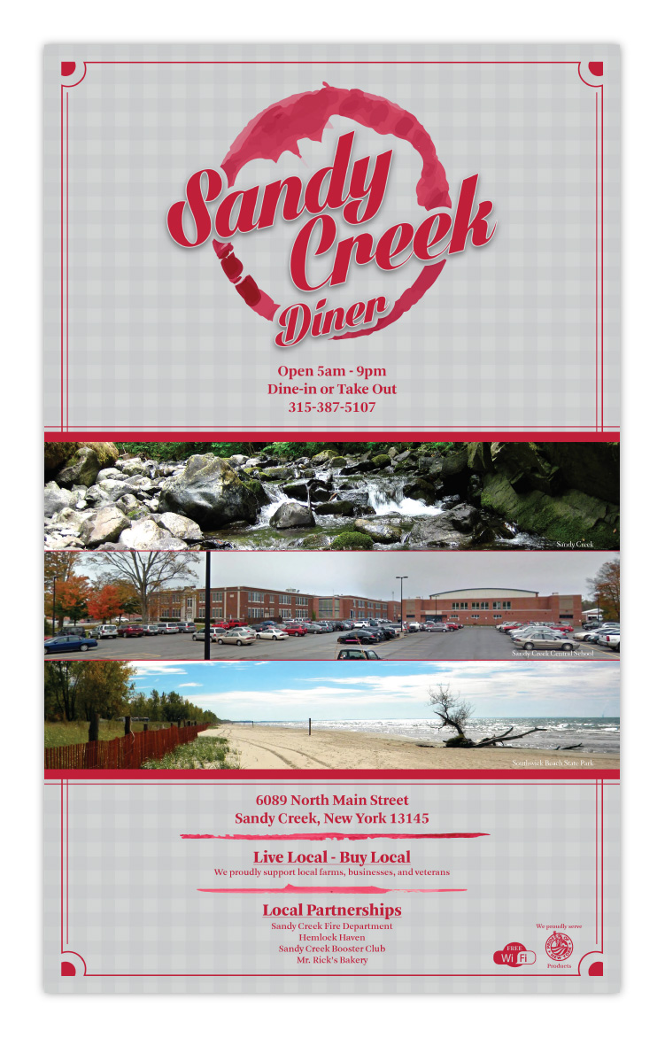 Sandy Creek Diner Restaurant Sandy Creek NY New York Menu Design Front Cover