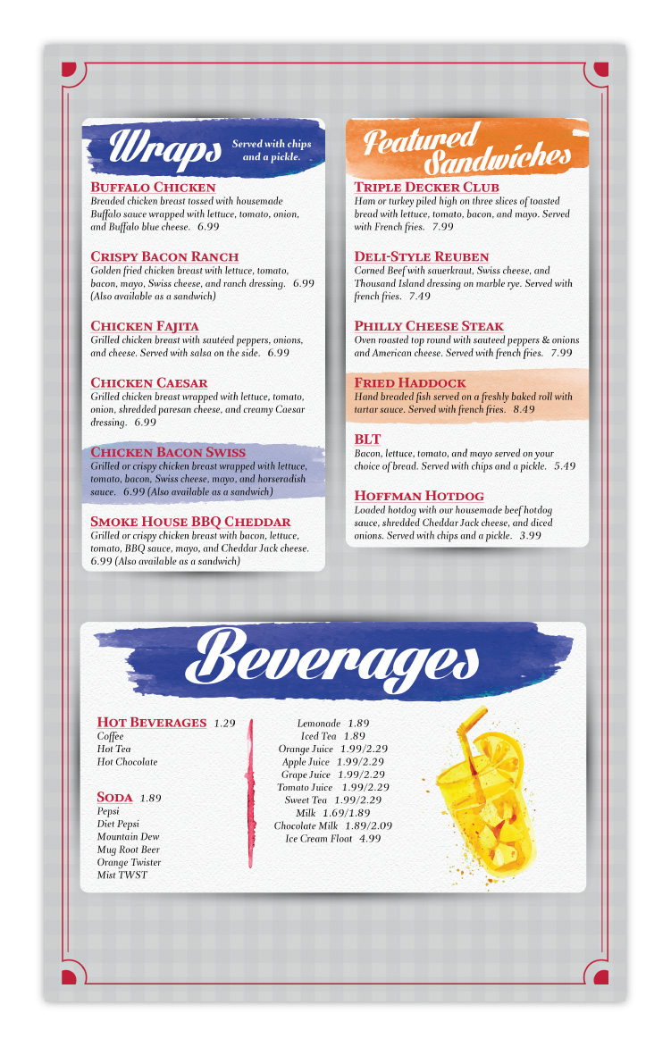 Sandy Creek Diner Restaurant Sandy Creek NY New York Menu Design Page 2