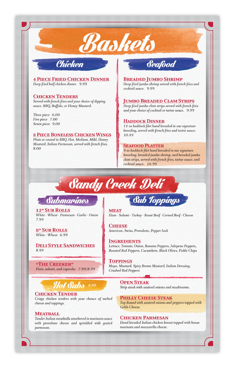 Sandy Creek Diner Restaurant Sandy Creek NY New York Menu Design Page 4